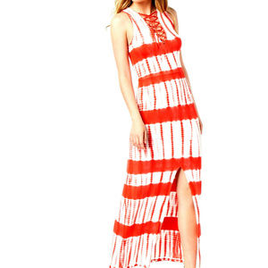 Material Girl Juniors' Printed Lace-Up Maxi Dress
